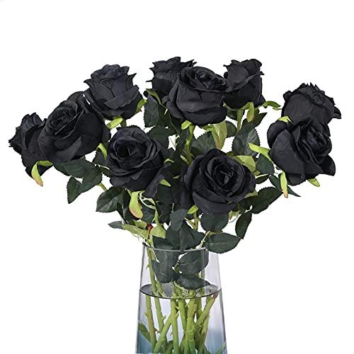 Floralsecret 12 unidades de rosas artificiales de seda para decoración de bodas, color negro