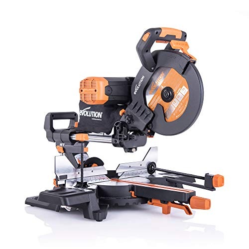 Evolution Power Tools 053-0003A R255SMS-DB+ Sierra ingletadora deslizante multimaterial de 255 mm, con doble bisel y paquete plus