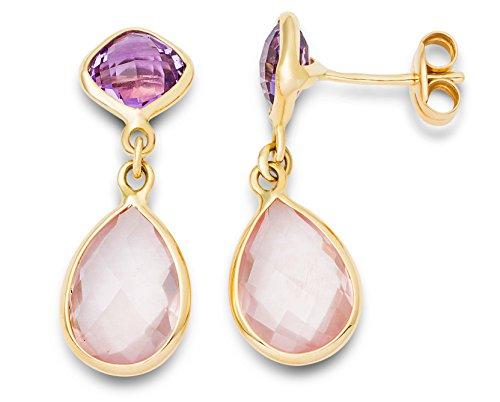 Miore Schmuck Damen Ohrringe mit Edelstein Geburtsstein Amethyst Ohrhänger aus Gelbgold 9 karat / 375 Gold