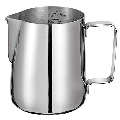 Milk Frothing Pitcher 350ml/12oz 304 Stainless Steel Milk Jug Espresso Steaming Pitcher Barista Cup for Making Coffee Cappuccino Latte Art…