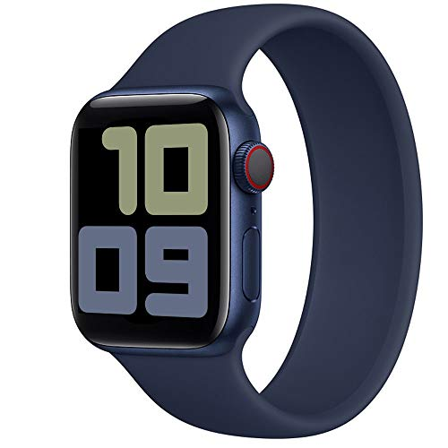 Strawberry Apple Pie - Solo Loop Band Compatible with Apple Watch Bands Replacement Sport Strap Silicone Wristband Men Women for Iwatch Series 6/SE/5/4/3/2/1 40mm 38mm Deep Navy 38mm 40mm Size 8
