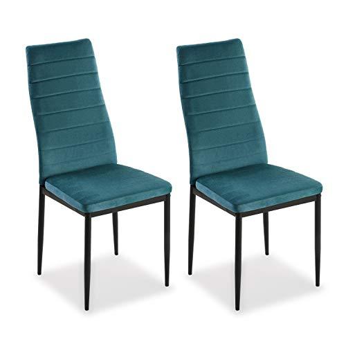 Mimma 21940011 Set Dos sillas Comedor Terciopelo