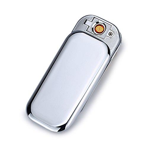 CHAOBEITE USB Elektronisches Berühren Feuerzeuge Windfest Elektronisch Zigarre Zigarette Feuerzeug Aufladbare (Silber) Silber