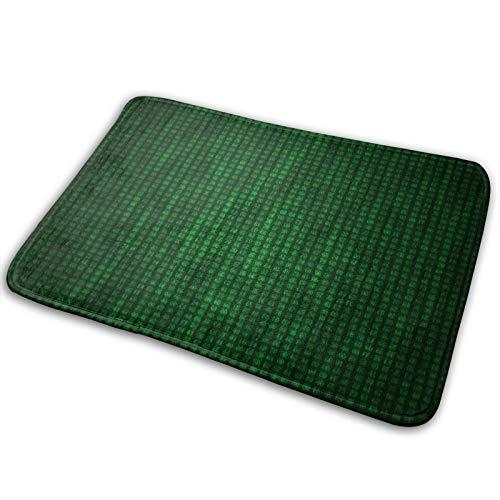 Alfombra de piso para pasillo, baño, interior y exterior, antideslizante y lavable, práctico limpiador de barro y trampa para el polvo, código hexagonal, sistema numérico, números, código, hex, verde