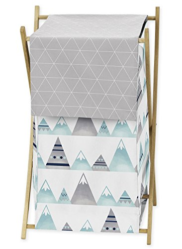 Navy Blue, Aqua and Grey Aztec Baby Kid Clothes Laundry Hamper for Mountains Collection by Sweet Jojo Designs