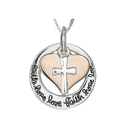 Zilveren-Toon 'Geloof Hoop Liefde' Gegraveerd Hanger Ketting 2.5cm Diameter Met 18 Inch Keten Gouden Hart Kruis Jezus