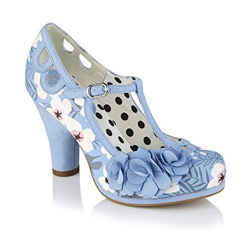 Ruby Shoo Damen Schuhe Valerie Floral Cut Out Blumen Pumps Blau Geschlossen 40