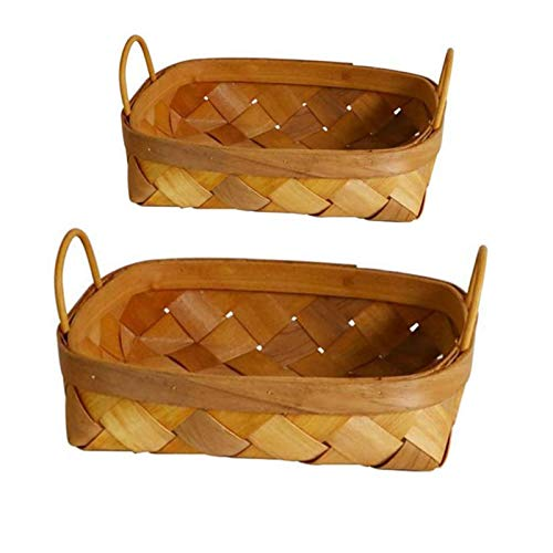 U/N 2 Pcs Rattan Square Storage Basket, Hand-Woven Storage Basket Bread Fruit Storage Basket/Storage Basket for Kitchen,Snacks Pastries Debris Sorting Box