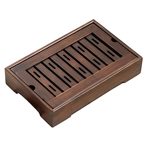 """Mini Bamboo Chinese Tea Tray - 115"""" Japanese Tea Serving Tray Small Gongfu Tea Table Set with Reservoir Type Water Storage Box Brown"""