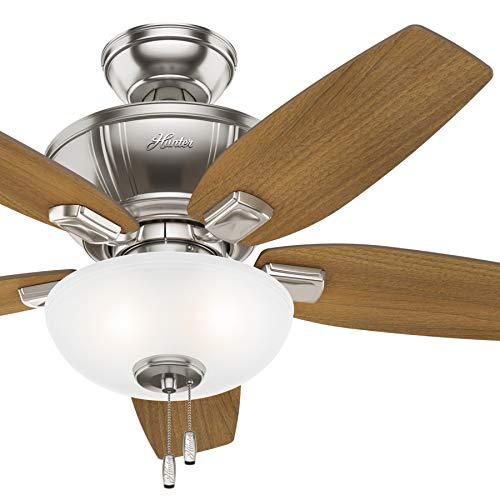 Hunter Fan 42 inch Casual Brushed Nickel Indoor Ceiling Fan with Light Kit (Renewed)