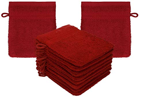 Betz Lot de 10 Gants de Toilette Taille 16x21 cm 100% Coton Premium Couleur Rouge Rubis