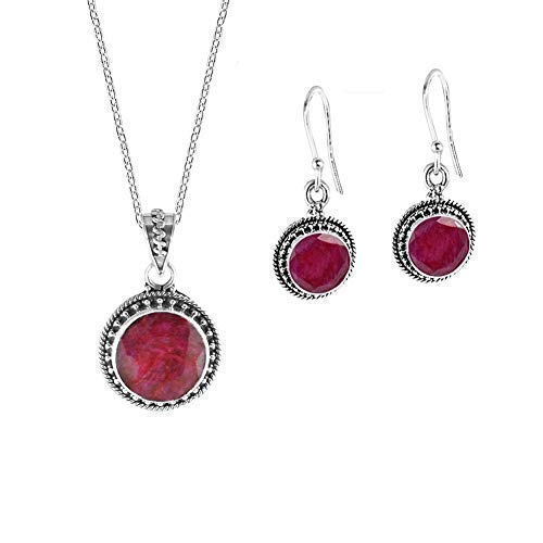 Sivalya AURORA 8.05Ctw Natural Raw Ruby Jewelry Set in Sterling Silver - Natural Cushion Cut Red Gemstone Necklace and Earrings Set - Comes Gift Packaged and Makes an Awesome Gift for Women