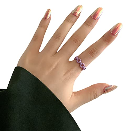 XPT Anillo para mujer, simple pintado a mano, apilable, geométrico, irregular, color caramelo, resina para fiestas, regalo de Navidad, morado, talla única