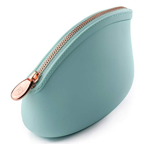 Pudinbag Small Makeup Cosmetic Pouch Bag for Women Purse | Babyblue | Silicone Waterproof Vegan