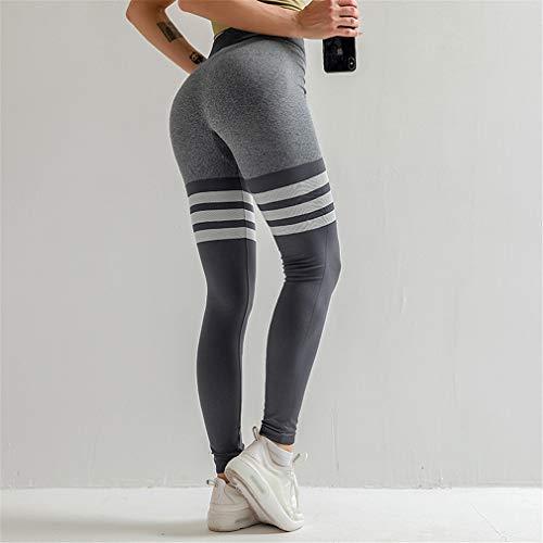 Leggings de cintura alta sin costuras, para gimnasio, deporte, fitness, glúteos, control de entrenamiento y correr, para entrenamiento de gimnasio, yoga, correr, gris, L