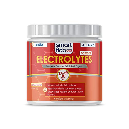 Smart Fido Powdered 16 oz Electrolytes for Dogs - with Powerful Probios probiotics and Coconut Oil, a Great Source of Electrolytes and Essential Amino acids for Healthy Energy, Endurance and Stamina