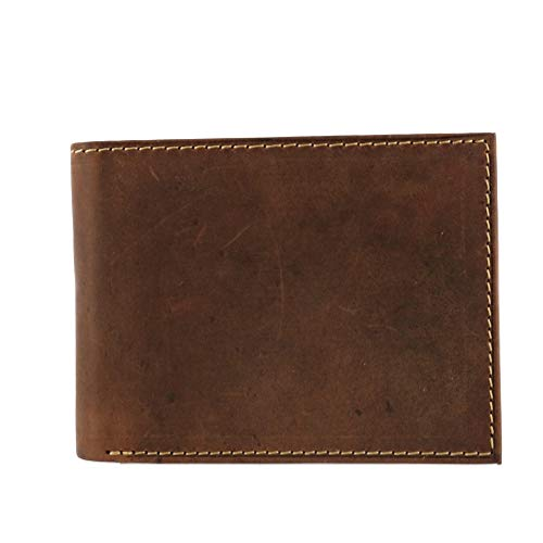 CTM Men's Hunter Leather Distressed RFID Bifold Wallet with Interior Zipper