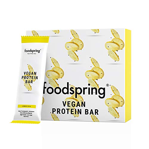 foodspring Vegan Protein Bar, Lemon Chia,12-Pack, Protein Bar Without Artificial Flavours, with Low Sugar & High Protein from Plant Sources
