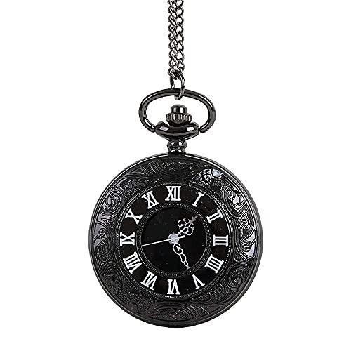 WWXL Colgante de Reloj Creativo, Reloj de Bolsillo Negro Roma Leisure para Hombres, Reloj mecánico con Cadena para Hombres, Mujeres, Relojes de Bolsillo para Mujeres y Hombres