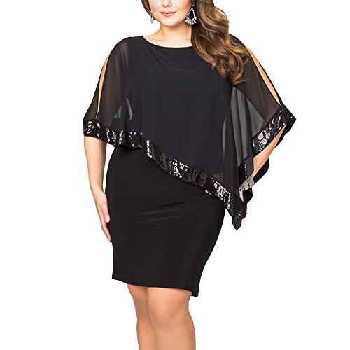 Ancapelion Damen Kleid Ärmellos Minikleid Chiffon Cocktailkleid Pailletten Pencil Partykleid Lässige Kleidung Abendkleid Frauenkleid Kleid für Frauen, Schwarz-übergröße, 3XL(EU 52-54)