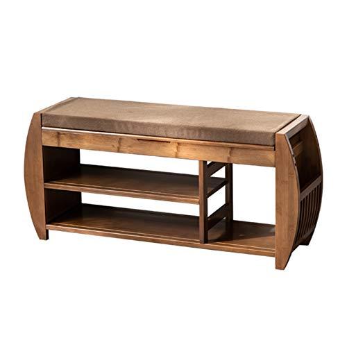 Mesa de Trabajo Cojín desmontable con almacenamiento oculto Compartimiento de zapatos de bambú y banco de zapatos, organizador de almacenamiento de entrada Sala de Estar del Pasillo de Entrada