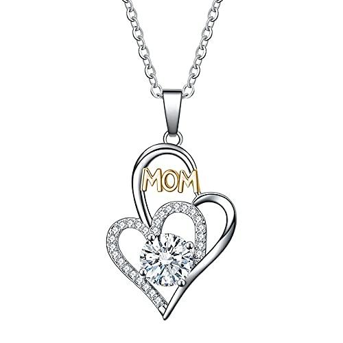 UTDKLPBXAQ Collar de madre en forma de corazón exquisito colgante de madre y madre de plata sin colores