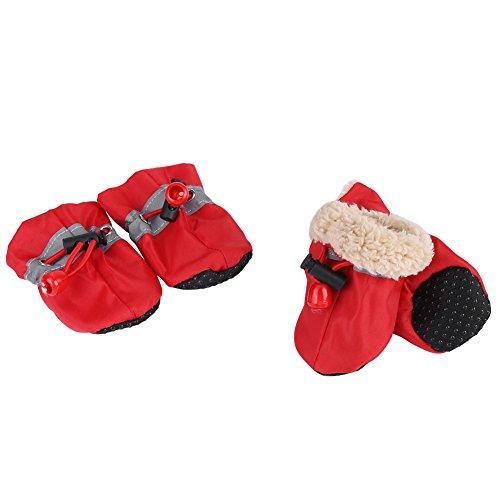 4 Teile/Satz Haustier Hund Stiefel rutschfeste wasserdichte Hund Schuhe rutschfeste Hund Stiefel Pad Haustier Winter Warme Schneeschuhe für Kleine Hunde (#5 Rot)