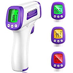 Forehead Thermometer Gun for Adults Babies Kids, No-Contact Digital Infrared Thermometer with Fever Alarm and Memory Function