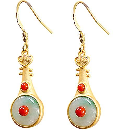 CHXISHOP Damen Ohrringe 925 Silber vergoldet Pipa Jade Ohrringe Süd Rot Mode Ohrringe Schmuck Geschenke für Frauen Mütter und Ehefrauen