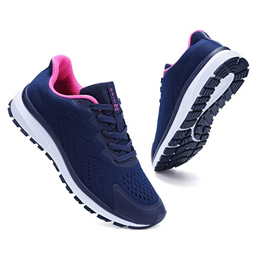 Kyopp Turnschuhe Damen Herren Laufschuhe Sportschuhe Freizeitschuhe Sneaker für Fitness Gym Outdoor Walkingschuhe Atmungsaktiv Leichte 36-48EU(Dunkelblau 39EU)