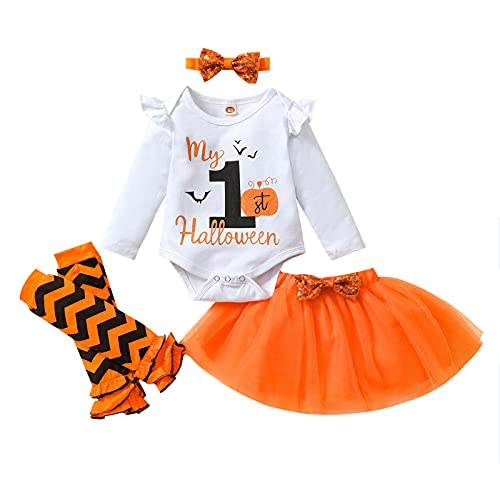 4 unids Halloween bebé niña manga larga impresión carta mameluco tutú falda diadema calentador pierna recién nacido Halloween ropa, naranja, 6 mes