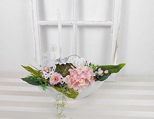 Tischgesteck in rosa weiß, Frühlingsgesteck, Tischdekoration, Frühlingsdeko