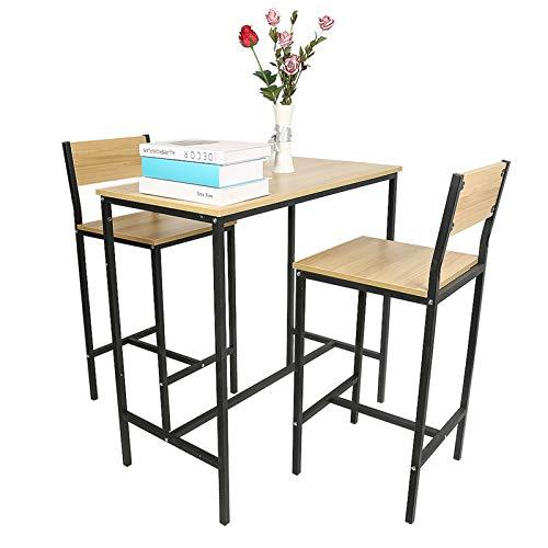 meihe Lot Table et chaises de Bar,Table de Bar avec 2 Tabouret à Haut Dossier/Style Industriel/pour Cuisine, Salle à Manger, Salon