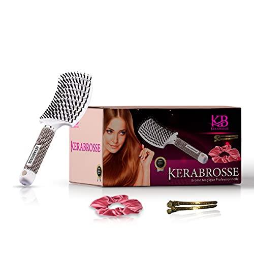 KelebroSSE.Cepillo para el cabello 100% natural, cepillo desmelante, mejor para desenredar el cabello grueso, cepillo de pelo mágico y cepillo de cerdas de jabalí blanco