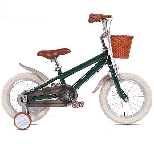 Bicicleta Infantil Bebé Bicicleta Para Niños 3-8 Años De Edad Estilo Retro Princesa Muchachas Con Cesta Asiento Confortable Chico Montar Al Aire Libre Rueda De Entrenamiento(Size:14in,Color:Verde)
