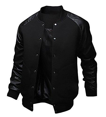 MISSMAO Uomo Ragazzo Scolaretto Giacche College Baseball Jacket Giubbotto Felpa in Ecopelle Nero M