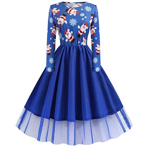 INLLADDY Damen Weihnachtskleid Langarm Partykleid Rundhals Retro A Linie Abendkleid Xmas Print Cocktailkleid Swing Kleid Patchwork Ausgestelltes Minikleid Blau 4XL