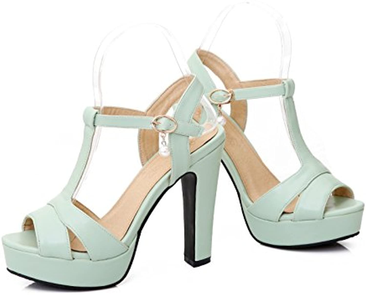 WHW Women's Hole shoes Leatherette Summer Outdoor Dress Casual Walking Imitation Pearl Platform Sandals,Green,40