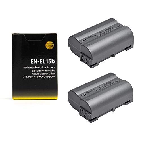 2 Pack EN-EL15b Rechargeable Li-ion Battery for Nikon Camera D500, D600, D610, D800, D810, D810A, D800E, D750, D850, D7000, D7100, D7200, D7500, Z 6, Z 7