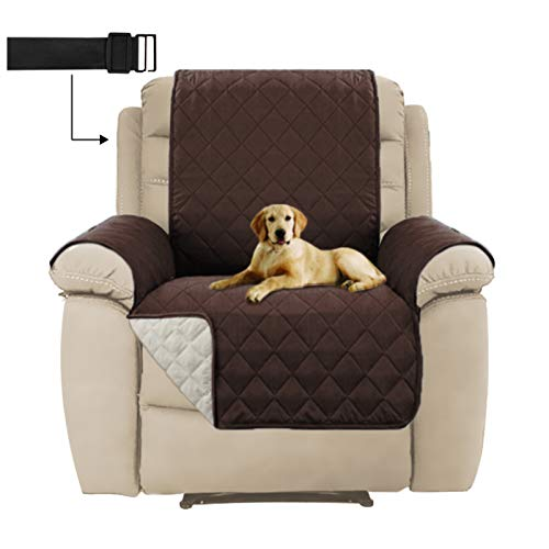 Reversible Couch Slipcover Recliner Chair Covers, Furniture Protector with 2' Strap/Hook, Sitting Width Up to 22' Protect from Kids and Pets Machine Washable (Recliner, Brown/Beige)