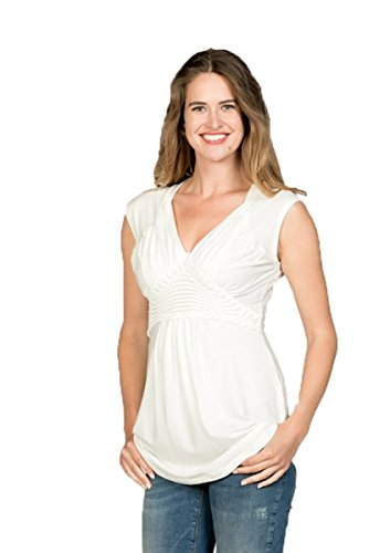 Love2Wait Umstandsmode Shirt Top figurbetonte Nursing Tencel- GOTS Zertifiziert Damen Shirt sh.sl. Nursing Tencel-Off White -XS
