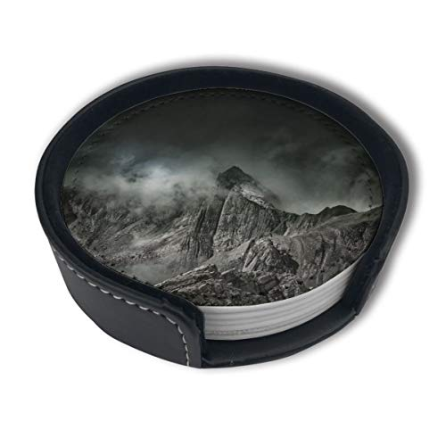 EKUIOP Leather Coasters with Holder Set of 6,Mountain Fog Summit Coasters for Drinks,Funny Gift,Round Cup Mat Pad for Home and Kitchen
