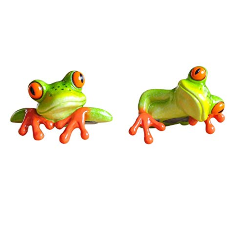 FLAMEER 2pcs Figura Viva Rana Resina 3D Animal Adornos Tabla Decoración Laptop Coche Accesorios