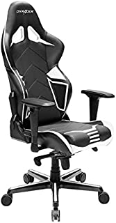 DXRacer Racing Series PU Leather OH/RV131/NW Racing Seat Office Chair Gaming Ergonomic Adjustable Computer Chair with - Includes Head and Lumbar Support Pillows (Black/White)