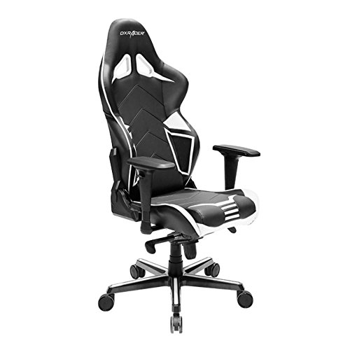 DXRacer Racing Series PU Leather OH/RV131/NW Racing Seat Office Chair Gaming Ergonomic Adjustable Computer Chair with - Includes Head and Lumbar Support Pillows (Black/White) chair gaming