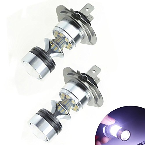 KATUR Lot de 2 ampoules LED H7 100 W 20 SMD LED pour feux de brouillard, feux de brouillard, feux de circulation diurnes