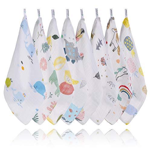 XelNaga Baby Washcloths Muslin 8 Pack, 100% Cotton Baby Face Towel and Wash Cloths for Bath, Soft Baby Muslin Cloths, Wipes, Bibs for Girls & Boys (28 x 28cm)