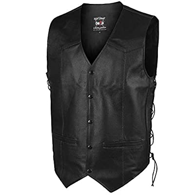 Leather Motorbike Vest Club Style Motorcycle Biker Vest Side Laces Concealed Gun Pockets (Small, Black)
