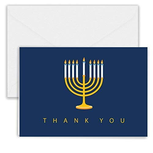 Paper Frenzy Hanukkah Menorah Thank You Note Cards and White Envelopes - 25 pack