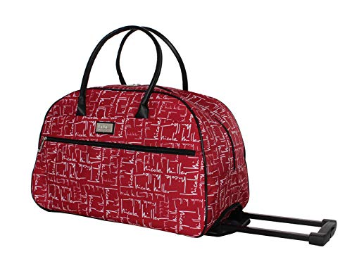 Nicole Miller Designer Carry On Luggage Collection - Lightweight Pattern 22 Inch Duffel Bag- Weekender Overnight Business Travel Suitcase with 2- Rolling Spinner Wheels (Signature)